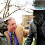 Hal Goldstein in Fairfield, Iowa town square
